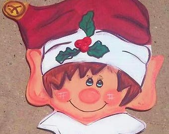 Christmas Elf Head Sign Or Wreath