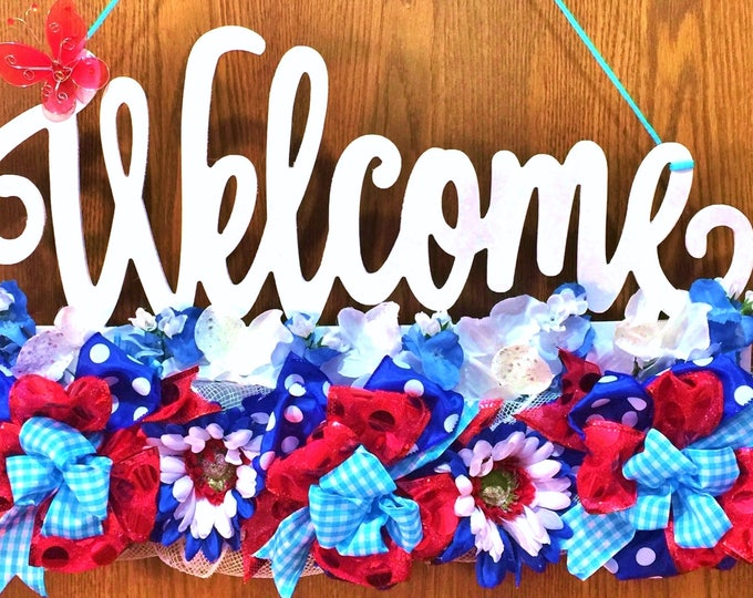 FREE SHIPPING Red White Blue Floral Butterfly - Welcome Door Wreath Hanger