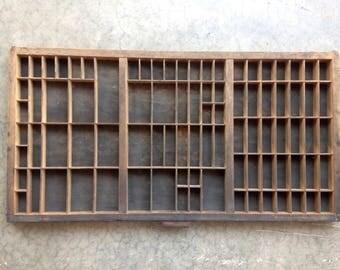 Antique Letterpress Printers wooden TYPE TRAY w/ Hamilton Handle and identity slot