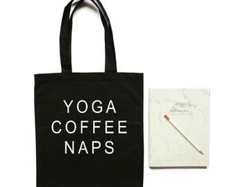 Yoga bag, Yoga coffee naps, Yoga gifts, Gift for yogi, Yoga, tote bag, Shopping bag, Shoulder bag, Cotton tote bag,