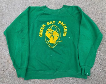 The Vintage Green and Yellow Greenbay Packers Football Cotton Crewneck Sweatshirt