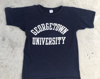 Georgetown University Vintage Academic Navy Blue Champion Tee Tshirt Size Small