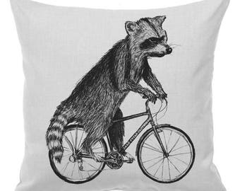 SUMMER SALE Raccoon on a Bicycle - Throw Pillow