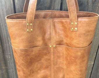 Brown Distressed Leather Tote Bag with pockets outside and inside  leather bag handmade leather tote
