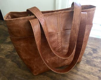 Leather Tote Bag in distressed brown whiskey leather with pockets outside and inside  leather bag handmade leather tote
