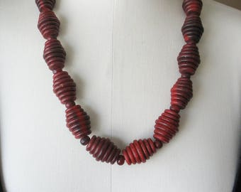 Boho Beaded Runway Necklace, Red Barrel Beads, Statement Necklace, Large Spiral Beads, Ribbed Barrel, Chunky, 1970's, Statement