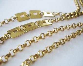 Long Chain Necklace, Links, Goldtone, Squares, 1970s, Extra Long Length, MCM, Versatile
