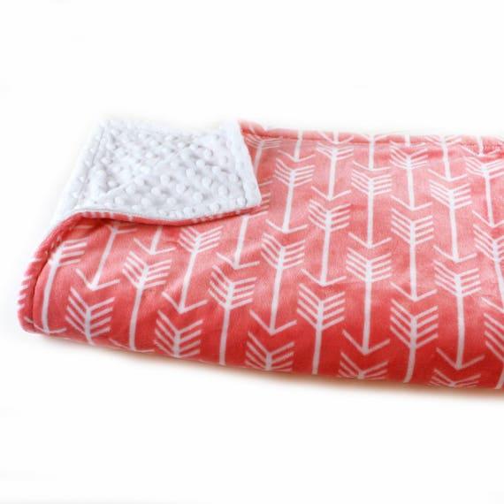 Minky Adult Blanket Personalized Blanket - Arrow Coral Minky Throw Blanket - Coral Arrow Blanket Coral Blanket / Gift for her / Arrow Throw