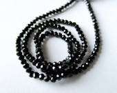 Black Spinel micro faceted rondelle- 2mm- 7 inch