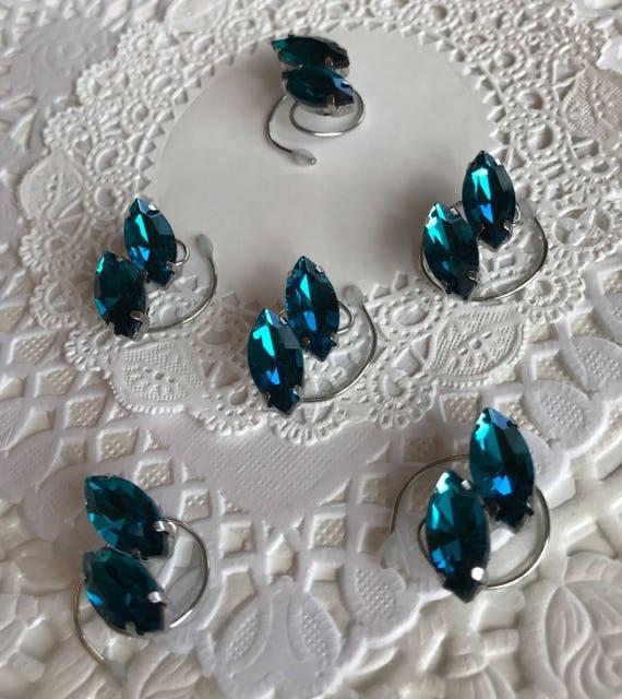 Ballroom Hair Swirls-Teal Blue- Perfect for Dancers-Skaters-Bridesmaid Updos-Navette Rhinestones