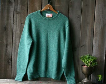 Thermex Wool Sweater 70s Crew Neck Pullover Green Tag Says Large Vintage From Nowvintage on Etsy
