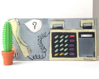 Painting on reclaimed wood of a Beocom 2000 Telephone
