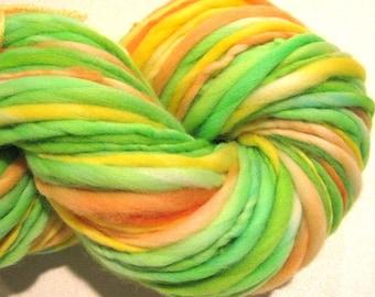 Bulky Handspun Yarn Citrus 130 yards hand dyed wool neon green yellow orange yarn waldorf doll hair knitting supplies crochet supplies