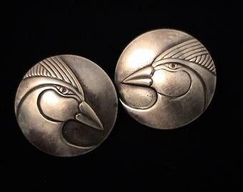 Vintage Sterling Repoussé Laurel Burch Design Earrings