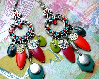Boho Rainbow . Boucles d'oreilles bohèmes argent 925 laiton émaillé strass cristal multicolore design original