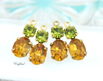 Vintage Glass Stones Olive Green & Topaz 16x6mm Set Stones Earring Drops Vintage Oval 1 Ring Brass Settings - 2