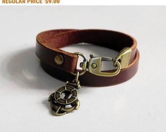 Brown Leather Charm Bracelet Leather Wrap Bracelet with Metal Bronze Tone Anchore Charm