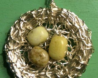 Hand Made Bird Nest Pendant Mossy GreenStone Eggs