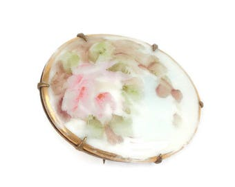 Victorian Hand Painted Porcelain Brooch Pink Rose and Flowers Antique Vintage