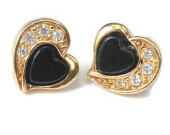 Small Heart Earrings Black Center Clear Rhinestones Posts Signed Avon Vintage