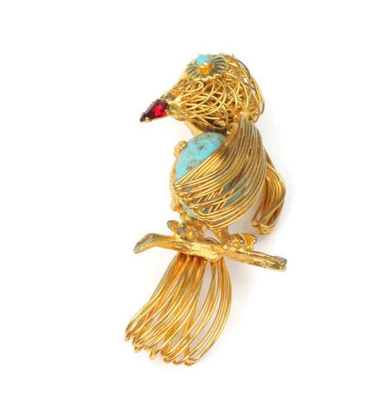 Wire Work Bird Brooch Turquoise Speckled Glass Tummy Vintage