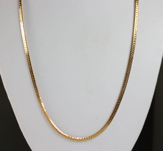 Gold Tone Herringbone Necklace Chain 24 Inches Long Vintage