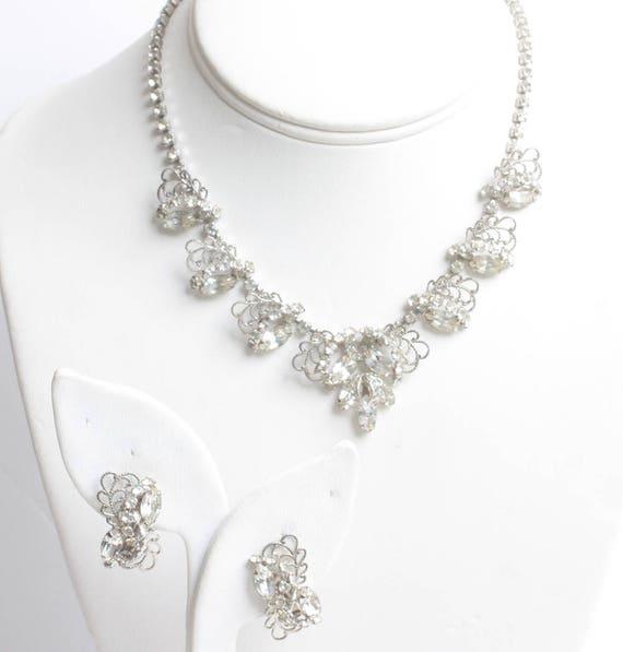 Rhinestone Filigree Choker Necklace Earring Set Silver Tone Wedding Bridal Evening Out Vintage