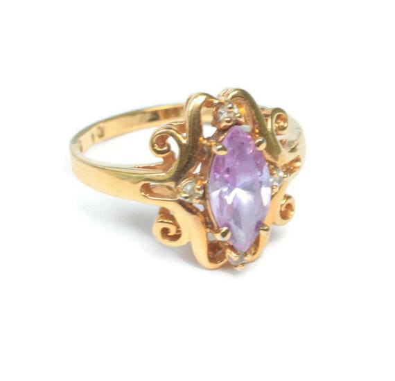 Amethyst Glass Ring Marquise Stone Fancy Setting Clear Accents Size 10  Vintage