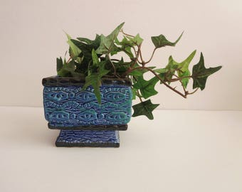 Vintage Blue Green Ombré Textured Planter -  Blue Square Footed Succulent Planter - Pedestal Flower Pot Bowl - Made in Japan