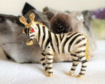 Sale 15% Vintage Zebra Brooch Gold Red White Black Rhinestone Eyes Zoo Unsigned