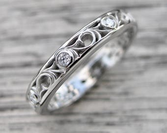 Rose Cut Black Diamond Engagement Ring in Palladium with White Diamonds in Scroll Pattern Size 6