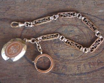 Antique French Art Deco Gold Plated Book Chain Style Pocket Watch Chain With Opening Mourning Locket Fob Charm