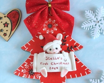Personalized baby's first Christmas ornament - wood tree red - Bunny, Penguin or Owl - gift children newborn kid room decoration expecting