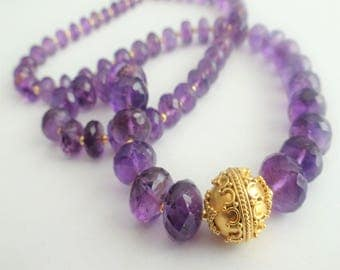 Amethyst Necklace, Luxe Amethyst Necklace In Gold Vermeil, FEBRUARY BIRTHSTONE, Purple Quartz Necklace, Gifts For Her, Bridal Jewelry