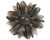 1960s Mod Light & Dark 2 Tone Gray Enamel on Metal Oversized Mid Century Flower Floral Groovy Boho Hippie Vintage Figural Pin Brooch