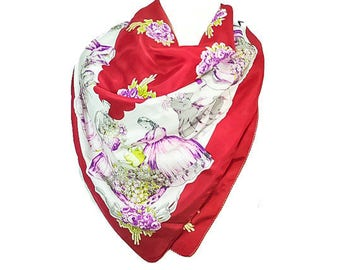 1950s Deelee Oversized Floral & Courting Couples Victorian Inspired Vintage Square Silk Scarf