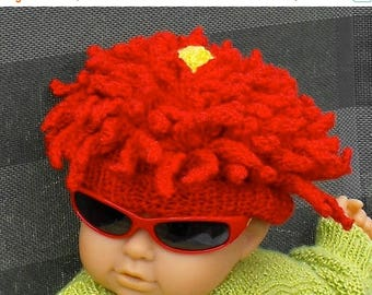 40% OFF SALE Instant Digital File pdf download knitting pattern-Baby Red Dahlia Flower Beanie Hat knitting pattern pdf download by madmonkey