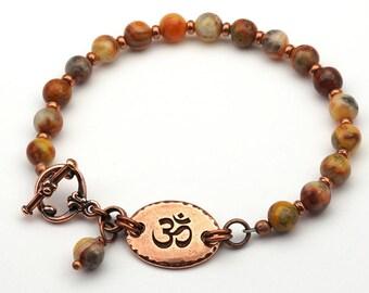 Om bracelet, zen jewelry, multicolor semiprecious stone Venus jasper beads, warm earthtones, copper, 7 3/4 inches long