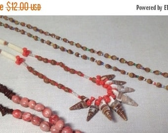 Christmas Sale 2 Vintage Seed Bead Shell Necklace Pair Indian Bead Folk Native American Hippie 70s
