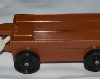 vintage Fisher Price little people zoo train tram BROWN car w/ HOOK replace #916