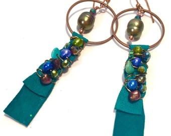 Mixed Media Copper, Teal Suede Leather, Wire wrapped, Pearl, Crystal and Turquoise Dangle Drop Handmade Earrings