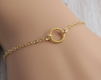 Skinny 14k Gold Fill Circle Bracelet, dainty minimal circle jewelry, layering