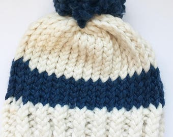 Cream and Blue Toddler Hat, Winter Boy Hat, Winter Toddler Hat, Cream and Blue Pom Pom Toddler Hat, Cream and Blue Pom Pom Hat, Winter Hat