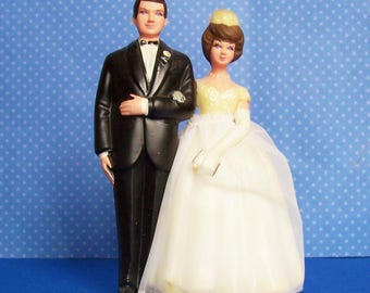 Vintage Bride w Organza Dress and Groom Cake Topper 4 1/2 inches tall Holds Bible