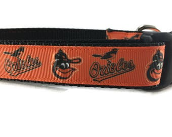 Dog Collar, Orioles Collar, Baltimore, 1 inch wide, adjustable, quick release, metal buckle, chain, martingale, hybrid, heavy nylon