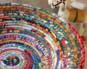 Coiled Fabric Basket - Gypsy LARGE - Organizer, Storage, Bohemian Handmade Basket, Colorful