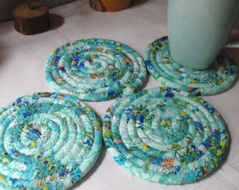Coiled Fabric Coasters - Set of 4 - Pale Turquoise, Blue, Kitchen, Entertaining, Handmade by Me
