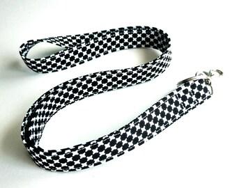 Fabric Lanyard, Black and White Breakaway Lanyard, Single or Double Breakaway Lanyard,  Detachable Lanyard, or Key Fob Wristlet.