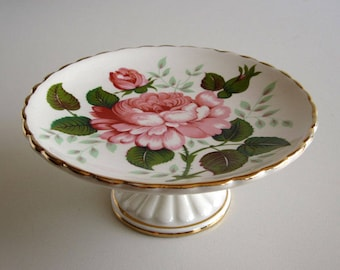 Fortnum & Mason cake stand / Vintage small display plate, cookies or biscuits / White pottery with roses