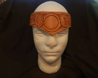 Leather head piece, crown hand carved leather, costume
